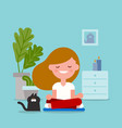 young woman meditating in sitting yoga position vector image