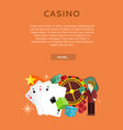 roulette wheel coin dice money chip star isolated vector image