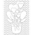 adult coloring bookpage a cute jug with hearts vector image vector image