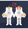 astronauts couple in love holding hands vector image