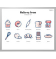 bakery icon linecolor pack vector image