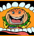 burger goes in mouth vector image vector image
