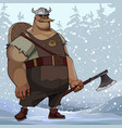 cartoon burly man in viking clothes with an ax in vector image