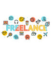 cartoon freelance concept card poster vector image