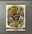 cartoon hand drawn doodles diet food poster design vector image vector image