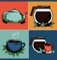 coffee time set icons vector image