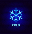 cold snowflake neon label vector image vector image