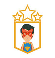 colorful silhouette with half body young superhero vector image