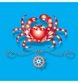 Crab and nautical design elements vector image vector image