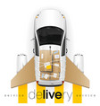 delivery car with cardboard wings vector image vector image