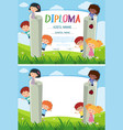 diploma and background template with kids in the vector image vector image