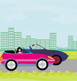 drive a car on a sunny day vector image vector image