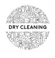dry cleaning or laundry service line icons on vector image