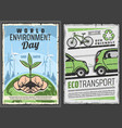 eco transport and world environment protection day vector image