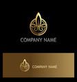 emblem gold leaf organic logo vector image