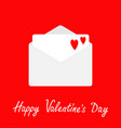 envelope with two red hearts open paper letter vector image