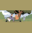 funny people man with dog vector image vector image