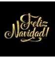 Gold Merry Christmas Spanish Card Golden Shiny vector image