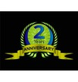 Green vintage anniversary message emblem 2 years