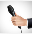 Hand With Microphone Realistic Detail Poster vector image vector image
