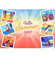 hello summer time banner with photos of couple vector image vector image