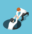 isometric businessman help his friend climb up vector image vector image
