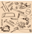 Joinery icons set Carpenter character at work vector image