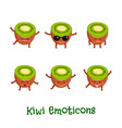 kiwi smiles cute cartoon emoticons emoji icons vector image