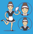 maid in apron and slippers vector image