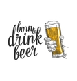 Male hand holding a beer glass vector image vector image
