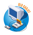 old gadgets isometric vector image