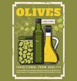 olives extra virgin olive oil in jars or bottles vector image