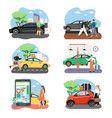 people and cars in their life composition set vector image vector image