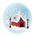 photo of suburban home with snow on drive way vector image vector image
