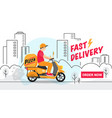 scooter delivery man delivers a parcel in city vector image