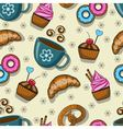 Seamless pattern with cups and sweets vector image vector image