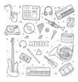 set a various musical instruments contour vector image vector image