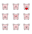 set funny 9 pigs icons vector image vector image