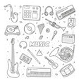 set of a various musical instruments contour vector image vector image