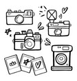 set of handdrawn retro photo cameras vector image