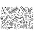 set of musical symbols and icons guitar drums vector image vector image