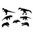 Set of Silhouette Dinosaur Black vector image vector image