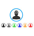 soldier under spotted helmet rounded icon vector image vector image