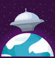 spaceship with planet earth icon vector image vector image