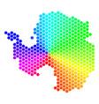 spectrum hexagon antarctica map vector image vector image