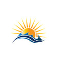 sunshine seascape logo vector image