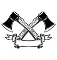 two crossed hatchets with ribbon design element vector image vector image