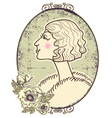 Vintage woman portrait vector image