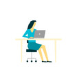 woman working at laptop computer at her workplace vector image vector image