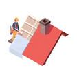 wooden roofing builders renovation skyscrapers vector image vector image